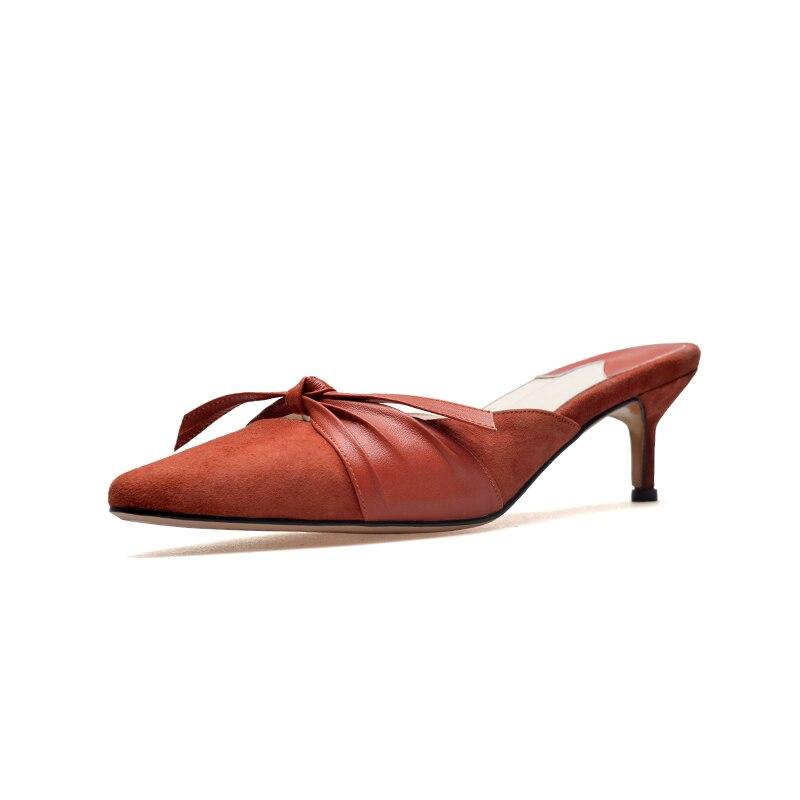 Doratasia Noir rouge Véritable Bout Noeud Pompes Mules Hauts Cuir Pointu Grand orange Kid Chaussures Papillon Size34 Femme En 43 Poursuivi Talons AzWAqFcrR