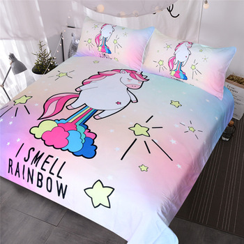 Unicorn Flying Rainbow Bedding Set Twin Full Queen Sizes