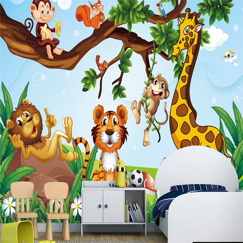Cartoon Zoo Animals Photo Wallpapers 3D Monkey Natural Trees Kids Murals for Children's Room Wall Papers Home Decor Living Room shinehome black white cartoon car frames photo wallpaper 3d for kids room roll livingroom background murals rolls wall paper