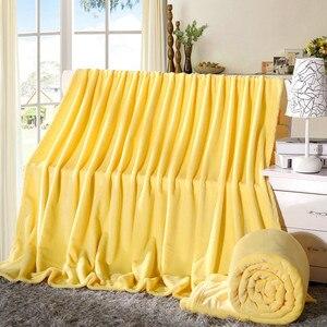 Image 4 - Очень мягкое одеяло из кораллового флиса, однотонное, желтое, Двухслойное, двухъярусное, размер, плед, покрывало, Cobertor