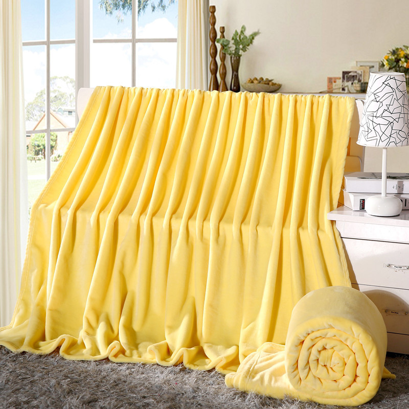 Image 4 - Super Soft Coral Fleece Blanket Solid Yellow Color Double Bed Twin Queen Size Plaid Furniture Cover Bedspread Coverlet Cobertor-in Blankets from Home & Garden