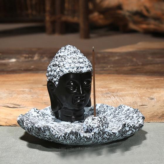Buddha hlava keramická aromaterapie kadidlo držák na vonné - Dekorace interiéru - Fotografie 5