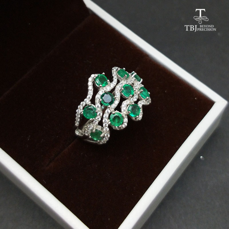 TBJ,100% Natural Zambia Green Emerald gemstone Ring in 925 sterling silver,romantic gift for women & girls with jewelry box