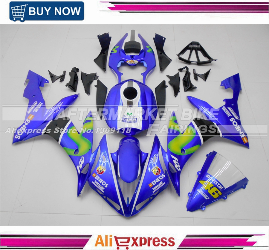 Complete ABS Fairing Kit For Yamaha YZF R1 2004 2005 2006 MotoGP Rossi VR46 New Fashion Movistar Bodywork With Free Shipping unpainted white injection molding bodywork fairing for honda vfr 1200 2012 [ck1051]