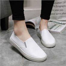 купить!  Белые Женские Вулканизированные Туфли Летние Скольжения На Мелкие Повседневные Кроссовки Мокасины