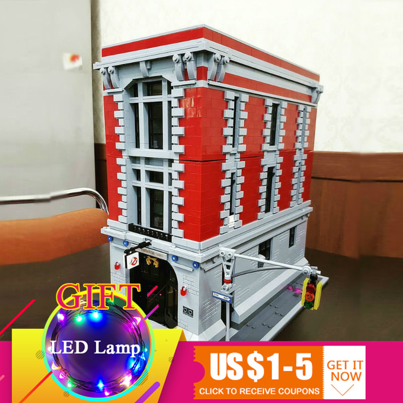 16001 4695Pcs Ghostbusters Firehouse Headquarters set Compatible with 75827 Building Blocks For Children Model Toys 4695pcs lepin 16001 city series firehouse headquarters house model building blocks compatible 75827 architecture toy to children