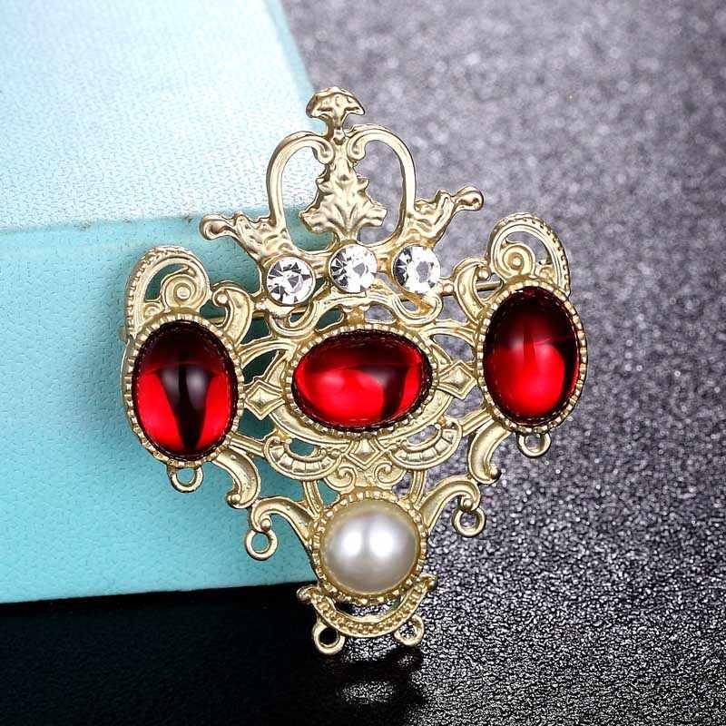 Zlxgirl Paduan Logam Merah Biru Resin Crown Bentuk Pernikahan Hijab Aksesori Vintage Pakaian Wanita Mutiara Syal Pin Perhiasan Tas