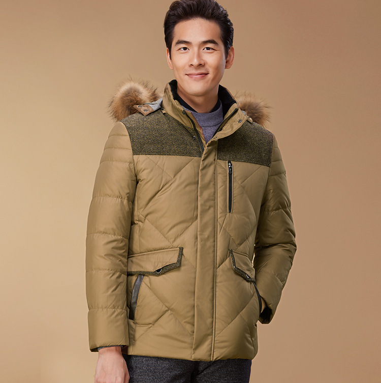 New arrival mens high quality duck down coat male winter warm clothing with natural real raccoon fur collar hood brown xxl
