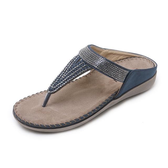 a6b1e8c56 2018 New Slippers Women Flip Flops Rhinestone Strings Cozy Flats Shoes Tpr  Beach Slippers Pu Ladies Summer Slippers Beach Slide