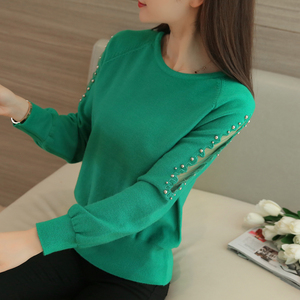 Image 3 - OHCLOTHING 2019 autumn winter sweater hedging all match  loose sweaters female short lace beading shirt solid