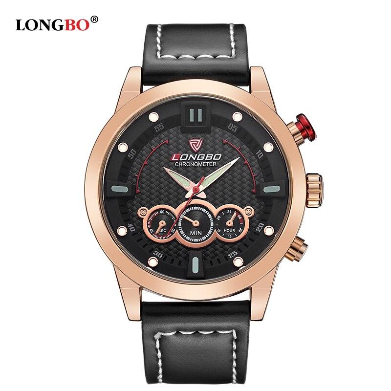 LONGBO Luxury Brand Men Genuine Leather Watch 2016 Men s Casual Military Sports Waterproof Wristwatch Relogio