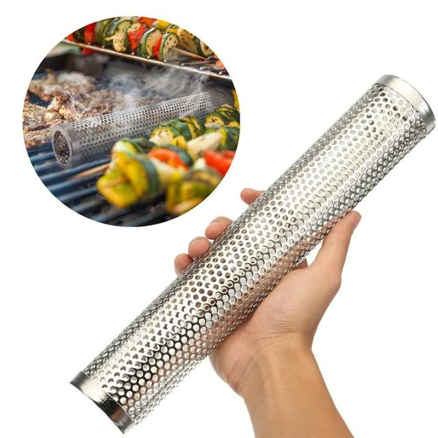 Round BBQ Grill Hot Cold Smoking Mesh Tube Smoke Generator Stainless Steel Smoker Wood Pellet Kitchen Outdoors Barbecue Supplies
