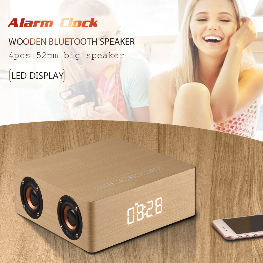 Radient Ig-wooden Bluetooth Alarm Clock Speaker 3600mah Battery Support Audio Input Tf Card Speakers Back To Search Resultsconsumer Electronics