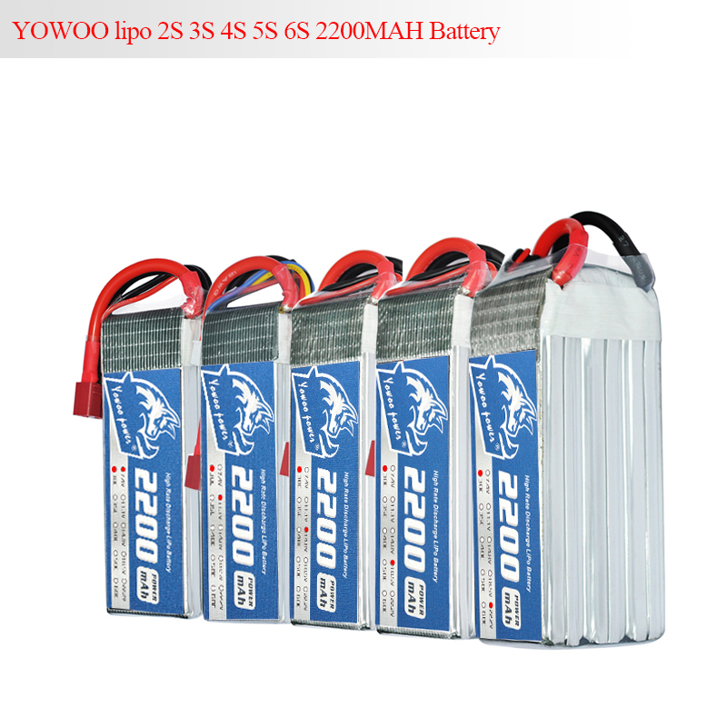 YOWOO Lipo 2S 3S 4S 5S 6S Battery 7.4V 11.1v 14.8V 18.5V 22.2V 2200mAh 30C 60C For Trex-450 RC Helicopter Car Boat Quadcopter tcb rc lipo battery 11 1v 2200mah 25c 3s li po batteries for trex 450 fixed wing rc helicopter car boat quadcopter 3s akku