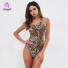 Leopard One Shoulder Form Fitting Bodysuit Stretchy Sexy Sleeveless Basics Bodysuits Women 2019 Summer Skinny Bodysuits Rompers mesh shoulder form fitting dress