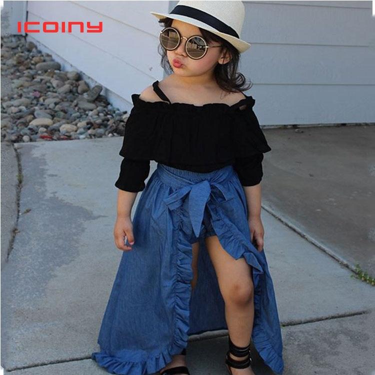 Для маленьких девочек футболки с манжеткой укороченный Топы + длинные макси юбки + шорты 3 шт./компл. детская повседневная одежда детские лет...