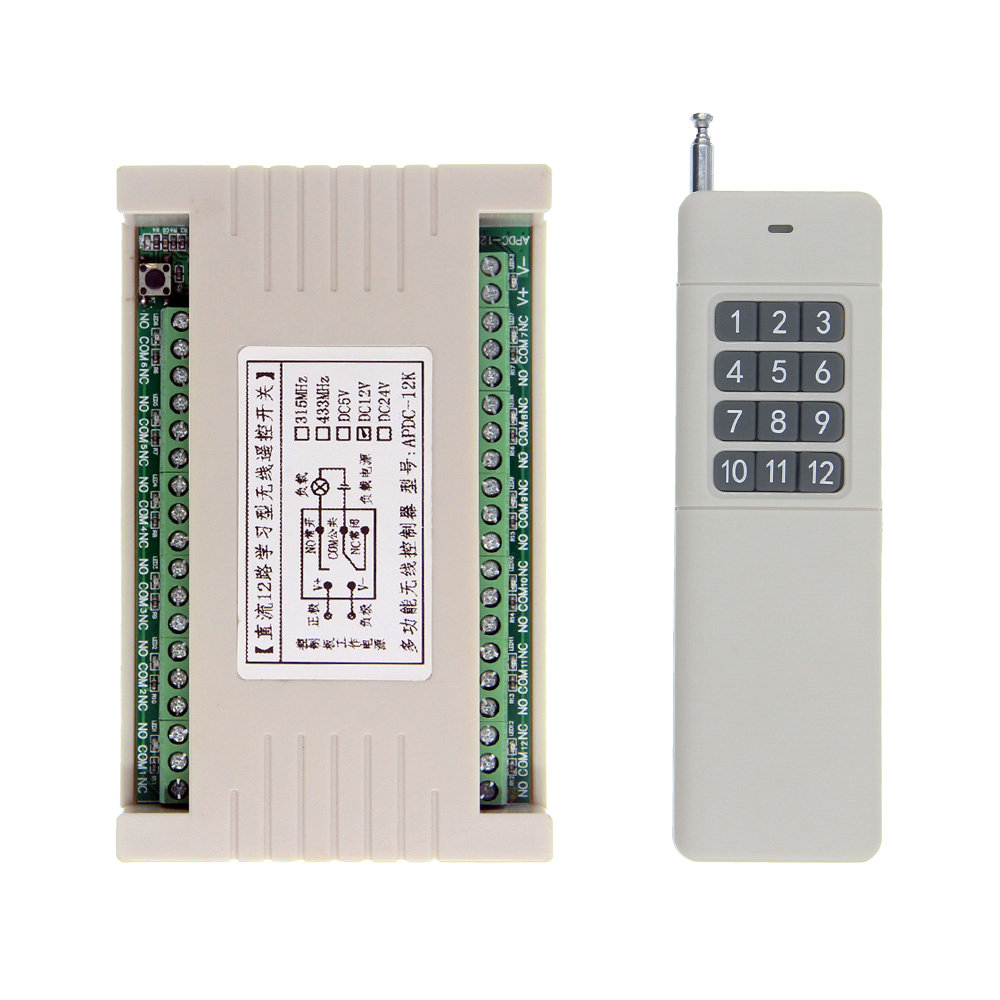 3000m Wide Range High Power 10A Relay DC 12V 24V 12 CH 12CH Wireless RF Remote Control Switch Transmitter + Receiver,Momentary 12ch 3000m long distance high power dc 9v 12v 24v 1 ch 1ch rf wireless remote control switch system transmitter receiver