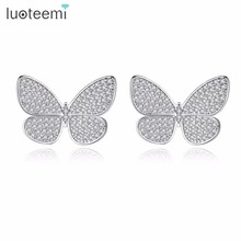 LUOTEEMI Trendy Tiny Cubic Zirconia Micro Paved Vivid Butterfly Stud Earrings For Women Fashion Animal Earring Gift Jewelry