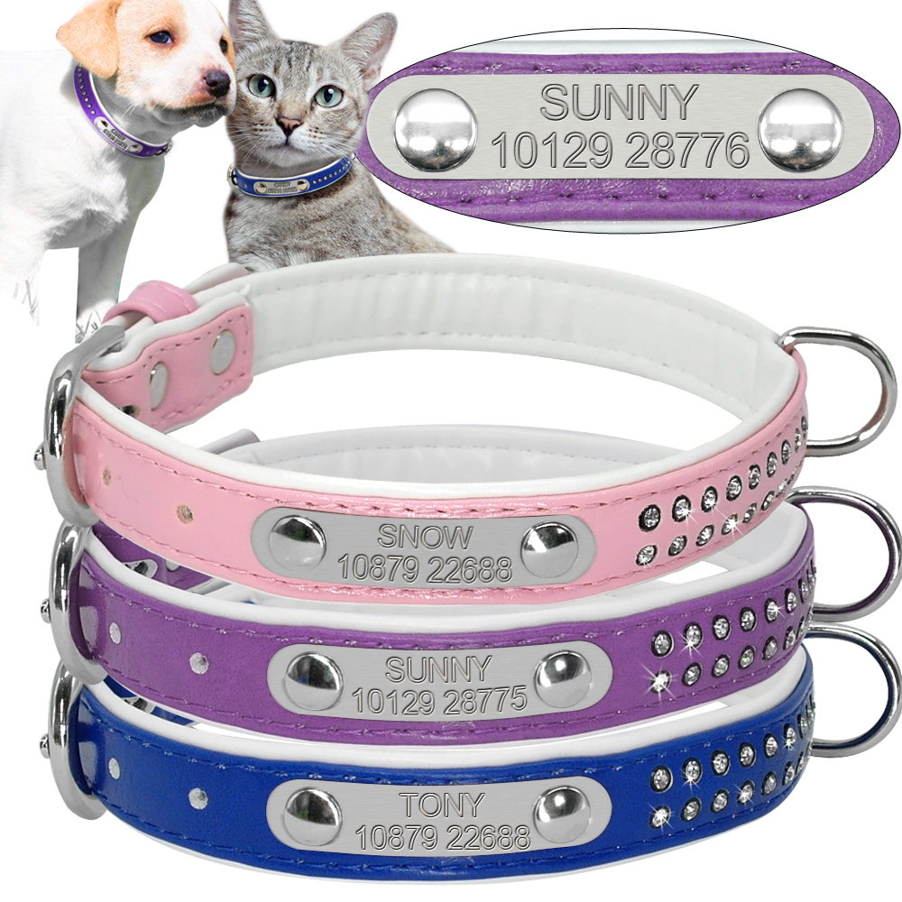 Soft Padded Leather Personalized Name Plate Dog Cat Collar