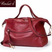 Новые модные сумки через плечо для женщин, натуральная кожа, Большая вместительная сумка на плечо, красная сумка-мессенджер, высокое качество