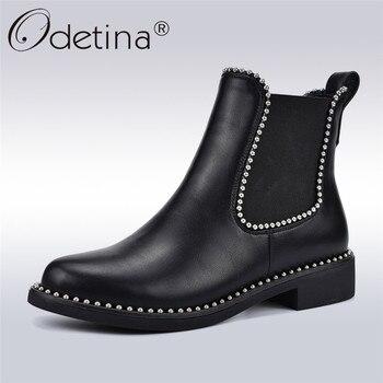 44978da5ca51 Odetina/новые модные ботинки «Челси» с заклепками для женщин, удобные  эластичные ...