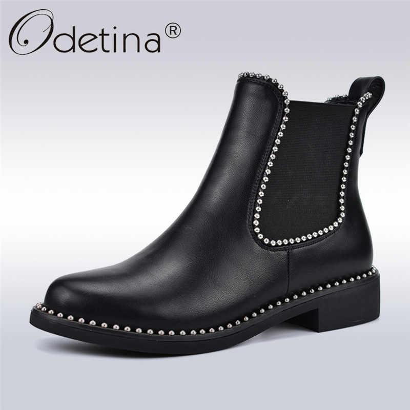 Odetina חדש אופנה מסמרת מגפי צ 'לסי עבור נשים נוח שמנמן עקבים להחליק על אלסטי מגפי נשים קרסול מגפי סתיו חורף