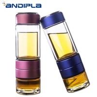 400ml Portable Double Wall Glass Water Bottles Kung Fu Tea Set 2 Layer Stainless Steel Filter Drink Tumbler Tea Maker Drinkware
