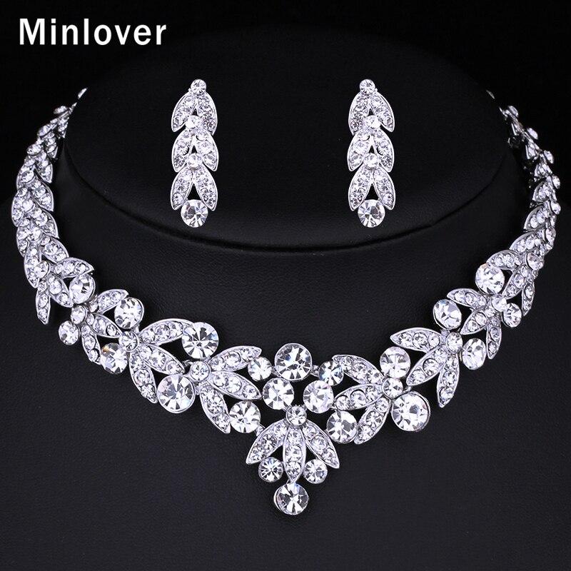 Minlover Silver Color Crystal Bridal Jewelrys