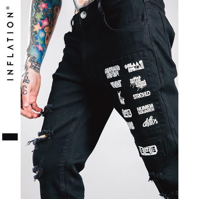 2016 equipo del otoño agujero elástico impresión de las letras de high street casual pantalones de los hombres cultivan su moralidad desgarrado por la mano
