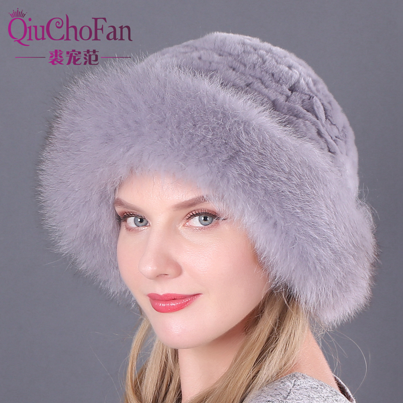 Women's Fahion Real Rex Rabbit Fur Knitted   Beanies   Top Hat Real Fox Fur Brim Lady Fur Cap Solid Winter Russian Warm Hat L