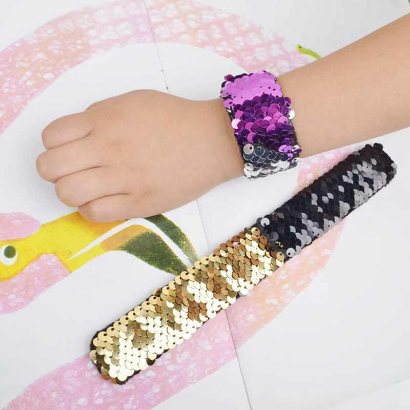 New Fashion 20 Colors  Mermaid Slap Bracelets Two-color Reversible Charm Sequins Flip Wristbands Gifts