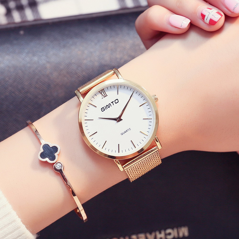 GIMTO Stainless Steel Quartz Wrist Watch Ultra Thin Ladies Watch Women Casual Hours Bracelet Women's Watch Lovers Female Clock stylish 8 led blue light digit stainless steel bracelet wrist watch black 1 cr2016
