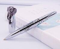 Fuliwen Ручка-роллер голова слона на кепке, нежный Серебряный подпись ручка, гладкий пополнения Бизнес Офис Дом Школа поставки