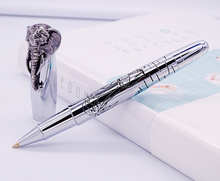 Fuliwen Rollerball Pen Elephant Head on Cap, Delicate Silver Signature Pen, Smooth Refill Business Office Home School Supplies