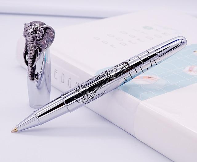 Fuliwen Vulpen Olifant Hoofd op Cap, Delicate Zilveren Handtekening Pen, Glad Refill Business Office Home Schoolbenodigdheden