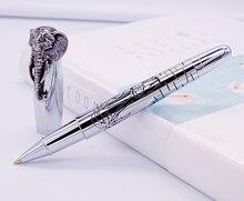 Fuliwen rollerball caneta cabeça de elefante no tampão, caneta de assinatura de prata delicada, material escolar de escritório de negócios de recarga suave em casa