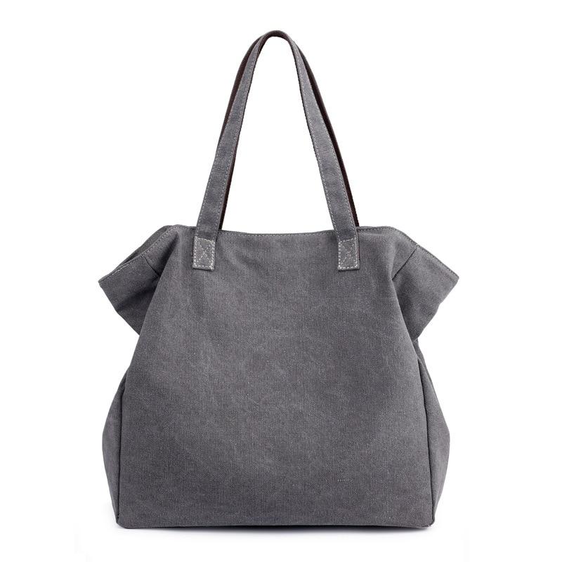 Women's Retro Canvas Handbags Hobos Single Shoulder Bags Vintage Solid Multi-Pocket Ladies Totes Bag Bolsos