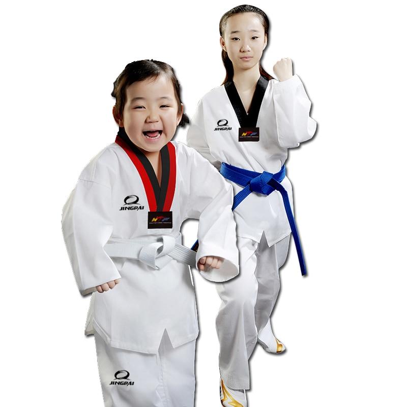 Cheap good quality child adult EXTERA taekwondo uniform Poom V neck karate dobok WTF breathable fitness