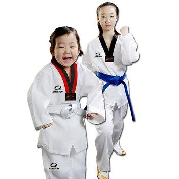 Cheap good quality child adult EXTERA taekwondo uniform Poom V neck karate dobok WTF breathable