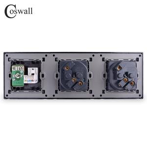 Image 3 - COSWALL 스테인레스 스틸 패널 이중 벽 소켓 16A EU 전원 콘센트 + 여성 TV 잭 RJ45 CAT5E 인터넷 포트 실버 블랙