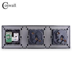 Image 3 - COSWALLแผงสแตนเลสDouble Wallซ็อกเก็ต 16A EU Power Outlet + หญิงแจ็คRJ45 CAT5Eพอร์ตอินเทอร์เน็ตเงินสีดำ