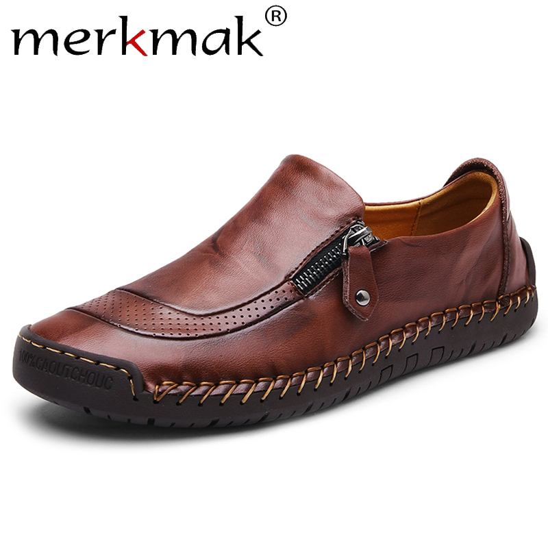 Merkmak Classic Men's Shoes Loafers Casual Men Shoes Quality Split Comfortable Leather Shoes Men Flats Zipper Moccasins Shoes