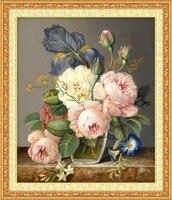 Leinwand Kreuzstich Kits für Rose Pfingstrose Blumen DMC Baumwolle Großhandel Gedruckt Stickerei DIY Handarbeit Nadel Arbeit Wand Wohnkultur