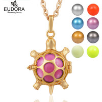 Retail Eudora Bola Ball Gold Plated Copper Metal Tortoise Guardian Angel Pendants Necklace With Colorful Chime