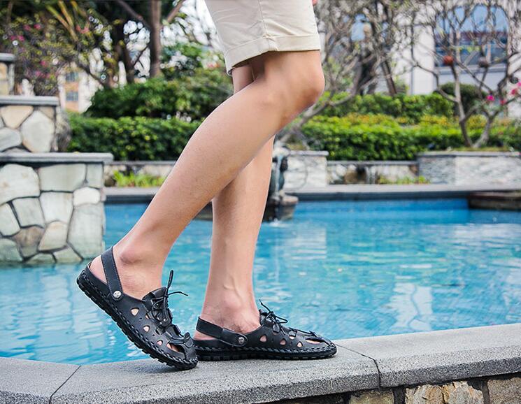 Vaca Playa Verano azul Moda negro Beige Perezosas Zapatos De Genuino Cuero Marca Hombres Sandalias SUtwz