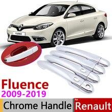 Para Renault Fluence 2009 ~ 2019 Chrome Capa Maçaneta da porta Do Carro Acessórios Adesivos Guarnição Set 2010 2011 2012 2013 2014 2015 2016 2018