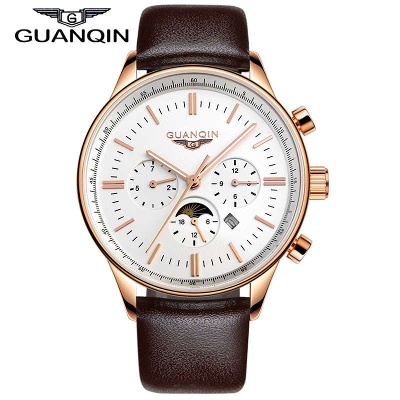 цена на Brand Watches Men GUANQIN Luxury Fashion Casual Mutilfuctional Watch High Quality Leather 100m Waterproof relogio relojes 2015