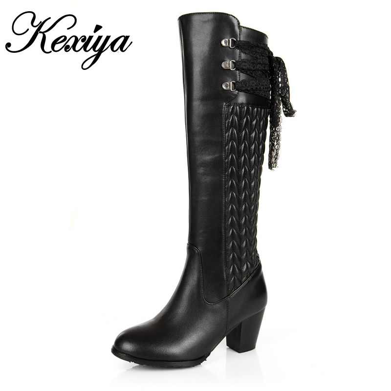 Hot sale !Big size 30-45 fashion women shoes Genuine leather High heels sexy Lace bowknot decoration Knee-High boots JBH-dx671