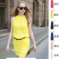 2015 Summer Fashion Dress Straight 6 Colors 5 Size Sexy Package Hips Halter Sleeveless Chiffon Dresses