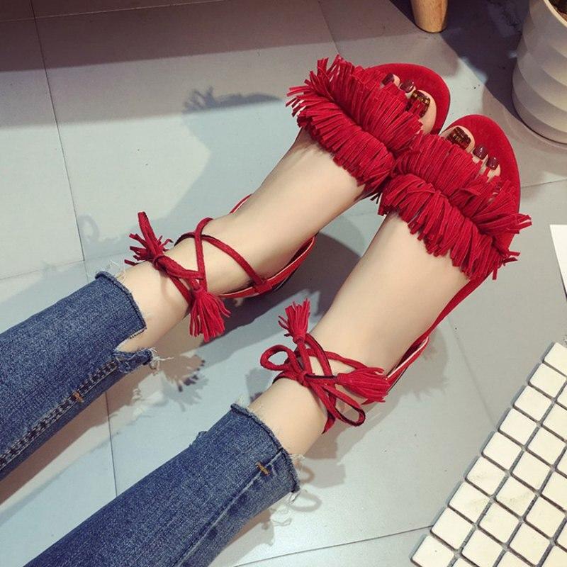 PADEGAO Shoes Woman Fashion Tassel Straps Flat Sandals For Women Flip flops Women Summer Beach Shoes Black Green Red 40,41,42